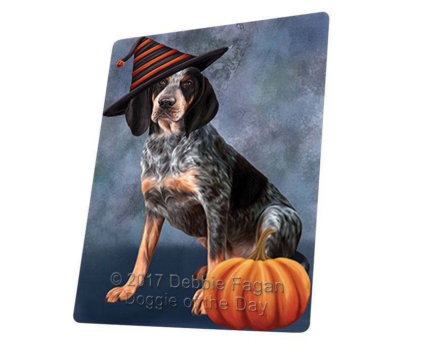 Happy Halloween Coonhound Bluetick Dog Wearing Witch Hat with Pumpkin Art Portrait Print Woven Throw Sherpa Plush Fleece Blanket