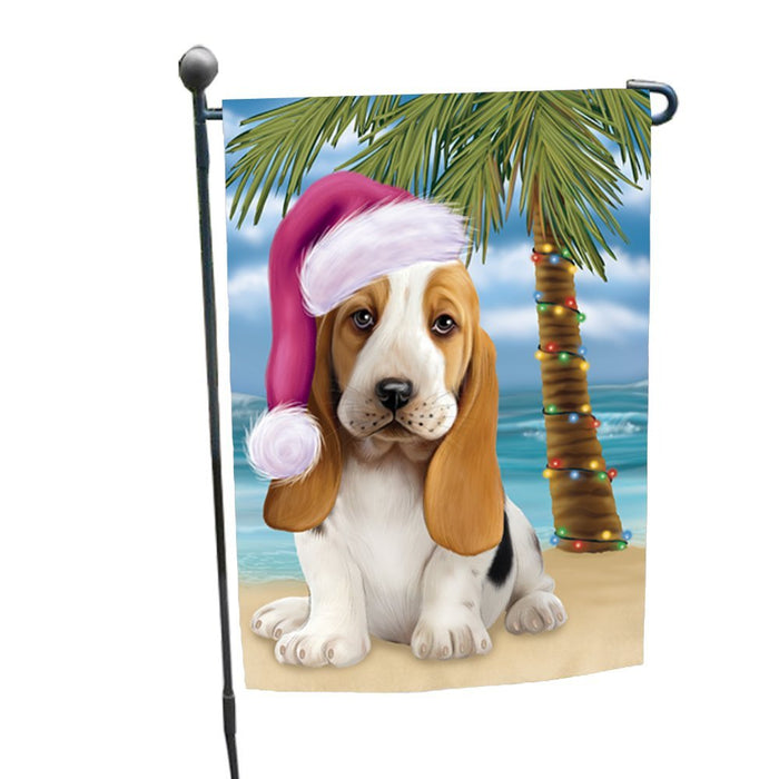 Summertime Happy Holidays Christmas Basset Hounds Dog on Tropical Island Beach Garden Flag
