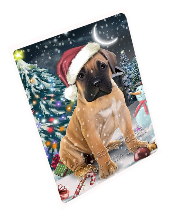 "Have A Holly Jolly Christmas Bullmastiffs Dog In Holiday Background Magnet Mini (3.5"" x 2"") D143"