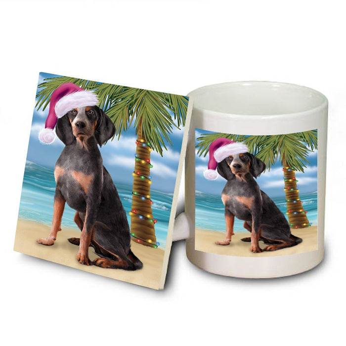 Summertime American English Coonhound Dog on Beach Christmas Mug and Coaster Set MUC0537