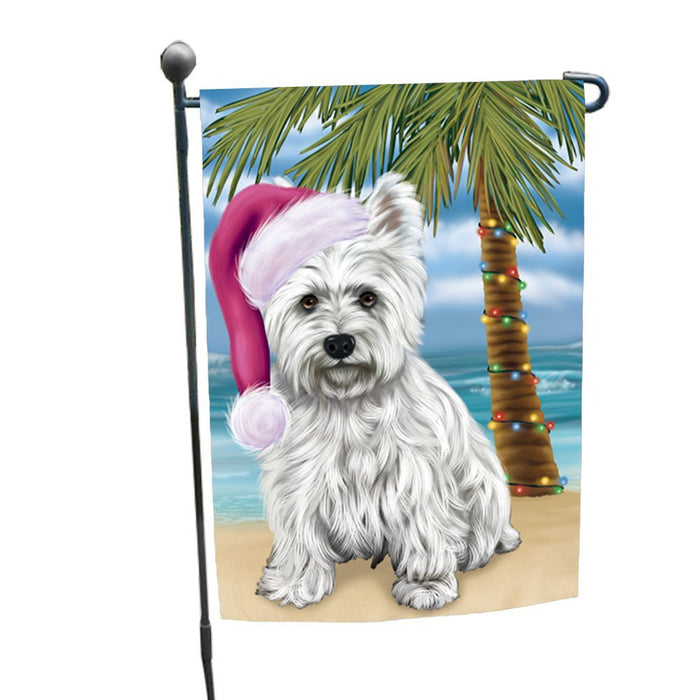 Summertime Happy Holidays Christmas West Highland Terriers Dog on Tropical Island Beach Garden Flag