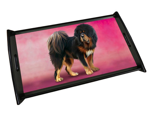 Tibetan Mastiff Dog Wood Serving Tray with Handles Black