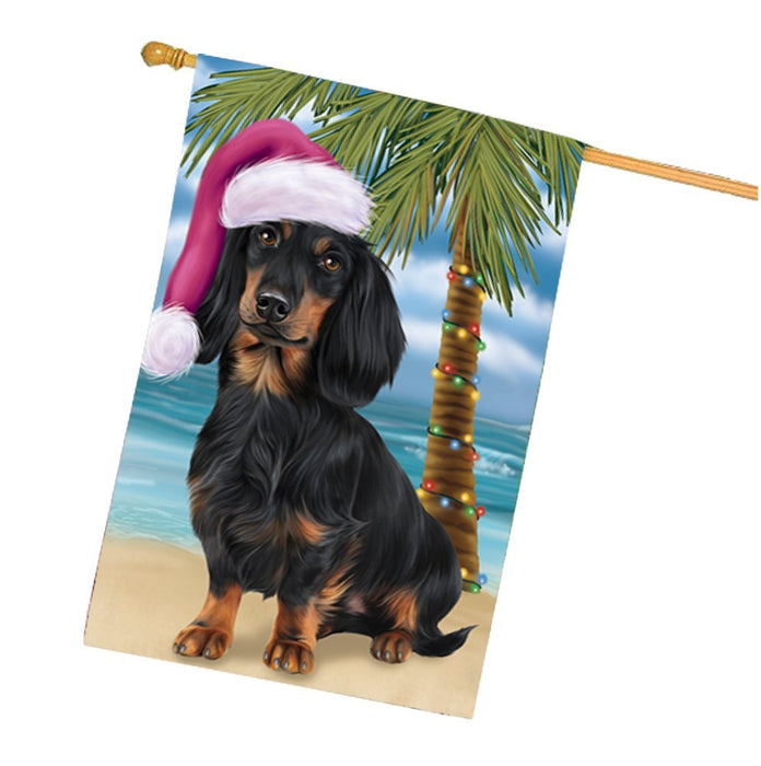 Summertime Happy Holidays Christmas Dachshunds Dog on Tropical Island Beach House Flag