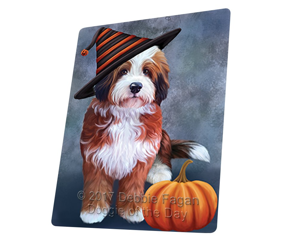 "Happy Halloween Bernedoodle Dog Wearing Witch Hat With Pumpkin Magnet Mini (3.5"" x 2"")"