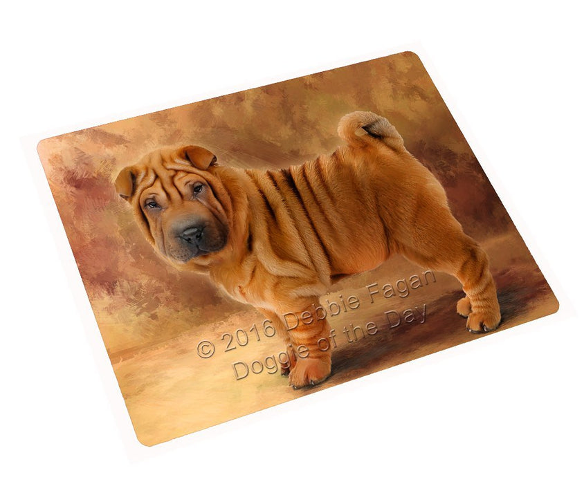 Shar Pei Dog Art Portrait Print Woven Throw Sherpa Plush Fleece Blanket