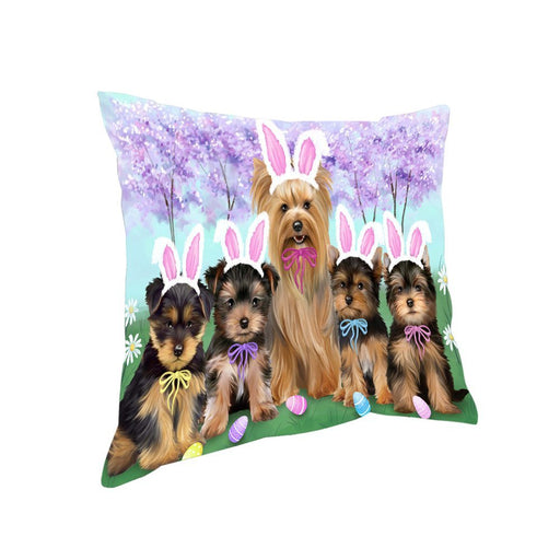 Yorkshire Terriers Dog Easter Holiday Pillow PIL52580