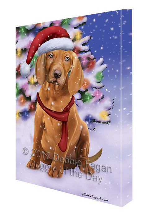 Winterland Wonderland Vizsla Dog In Christmas Holiday Scenic Background Canvas Wall Art