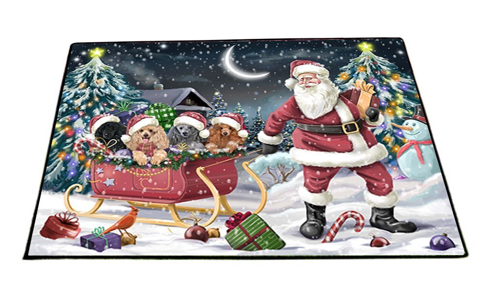 Santa Sled Dogs Christmas Happy Holidays Poodle Indoor/Outdoor Floormat FML0048