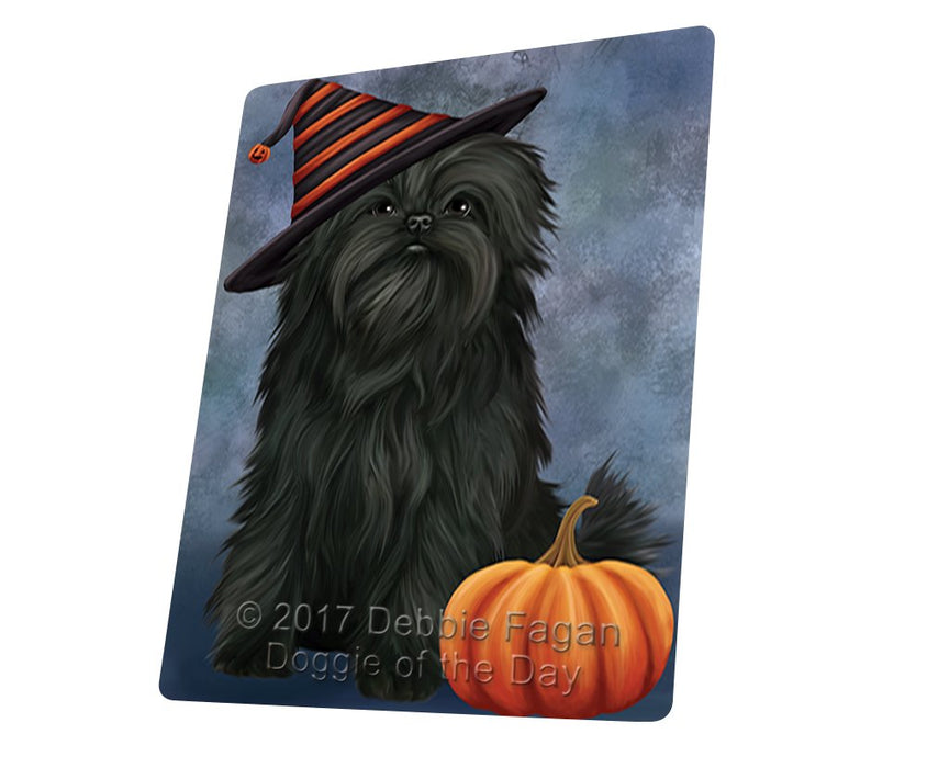 "Happy Halloween Affenpinscher Dog Wearing Witch Hat With Pumpkin Magnet Mini (3.5"" x 2"")"