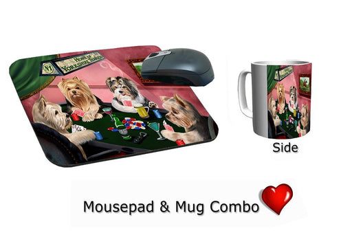 Yorkshire Terrier Dogs Playing Poker Mug & Mousepad Combo Gift Set