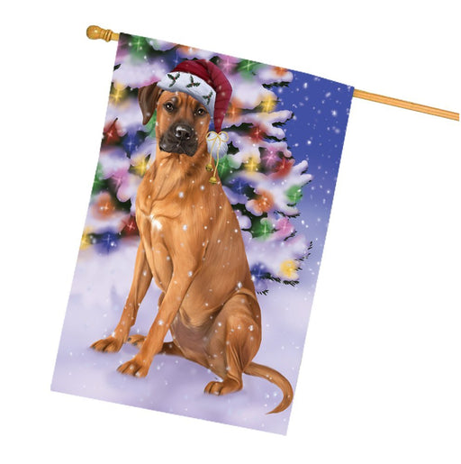 Winterland Wonderland Rhodesian Ridgebacks Dog In Christmas Holiday Scenic Background House Flag