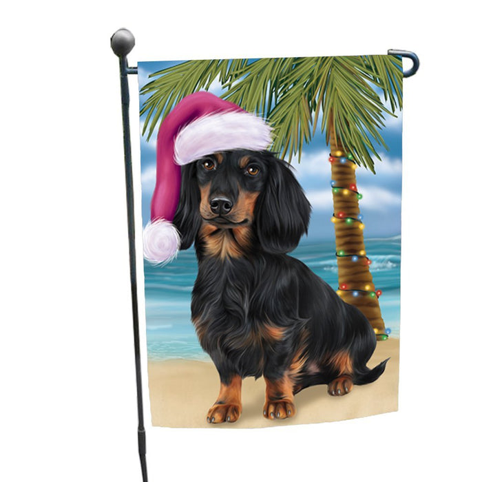 Summertime Happy Holidays Christmas Dachshunds Dog on Tropical Island Beach Garden Flag