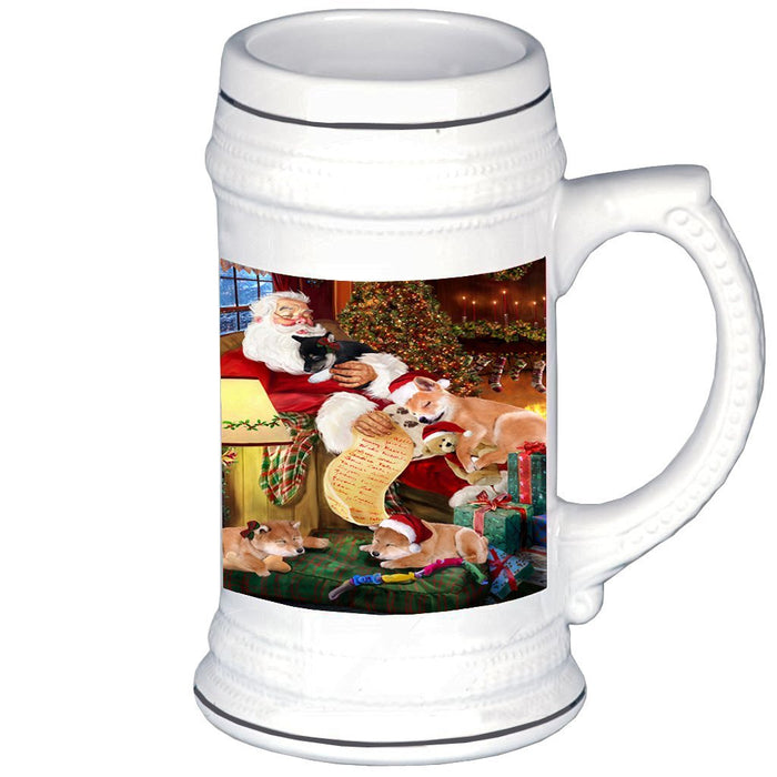 Shiba Inu Dog with Puppies Sleeping with Santa Beer Stein