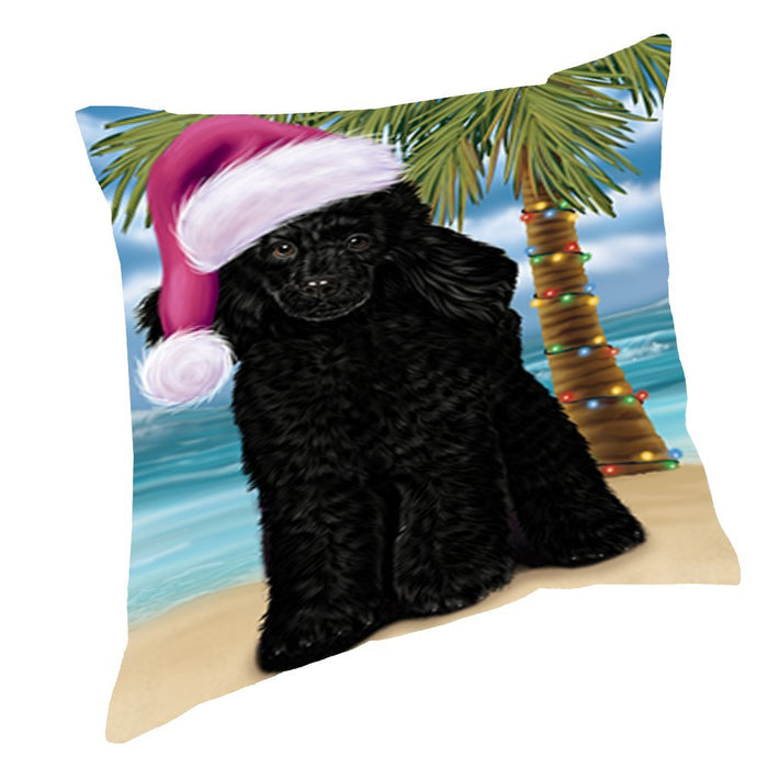 Summertime Christmas Happy Holidays Poodle Dog on Beach Throw Pillow PIL1568