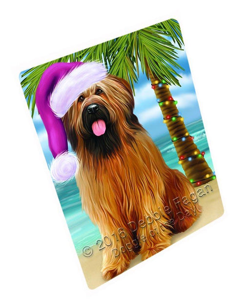 "Summertime Happy Holidays Christmas Briards Dog On Tropical Island Beach Magnet Small (5.5"" x 4.25"")"