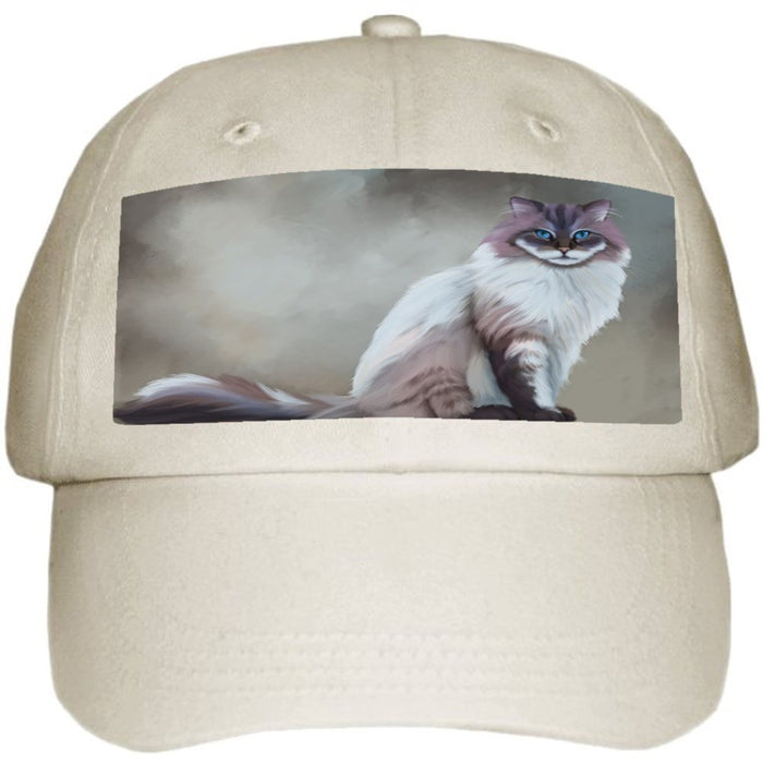 Seal Mitted Lynx Ragdoll Cat Ball Hat Cap Off White