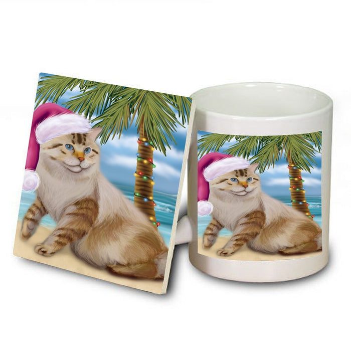 Summertime American Bobtail Cat on Beach Christmas Mug and Coaster Set MUC0720