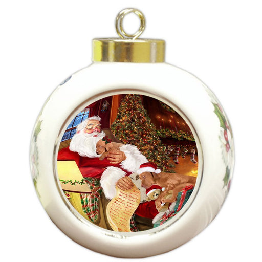Vizsla Dog and Puppies Sleeping with Santa Round Ball Christmas Ornament D479