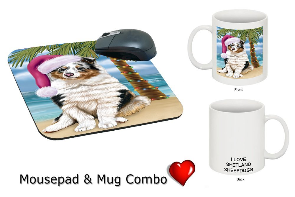 Summertime Shetland Sheepdog Puppy on Beach Christmas Mug & Mousepad Combo Gift Set MMCG1141