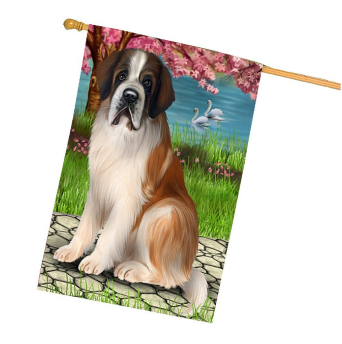 Saint Bernard Dog House Flag HF430