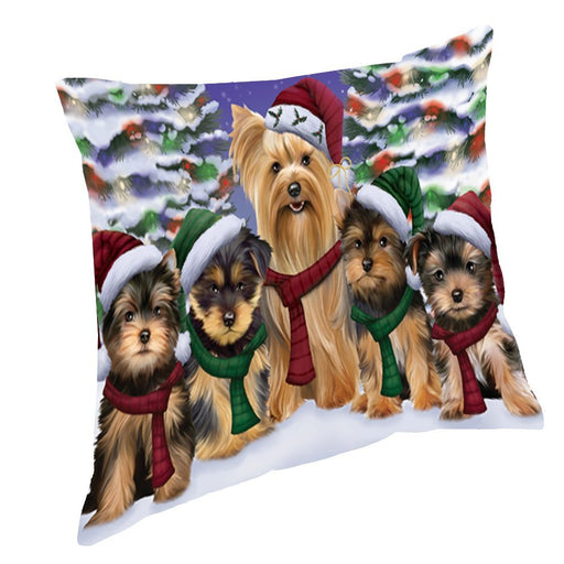 Yorkshire Terriers Dog Christmas Family Portrait in Holiday Scenic Background Throw Pillow