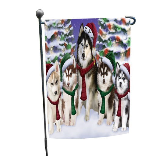 Siberian Huskies Dog Christmas Family Portrait in Holiday Scenic Background Garden Flag