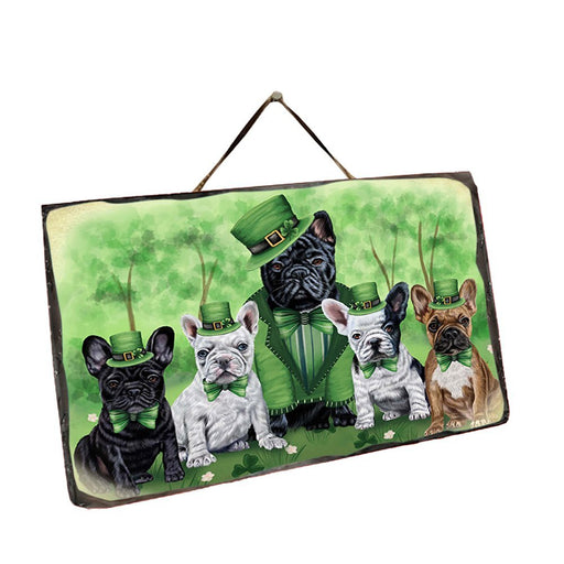 St. Patricks Day Irish Family Portrait French Bulldogs Wall Décor Hanging Photo Slate SLTH48799