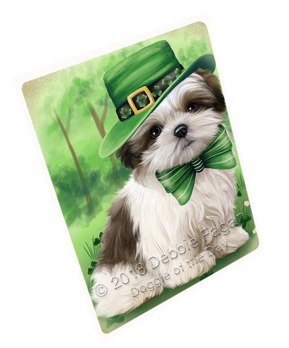 St. Patricks Day Irish Portrait Malti Tzu Dog Large Refrigerator / Dishwasher Magnet RMAG52758