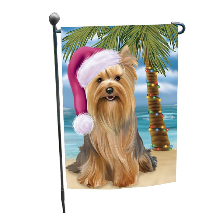 Summertime Happy Holidays Christmas Yorkshire Terriers Dog on Tropical Island Beach Garden Flag