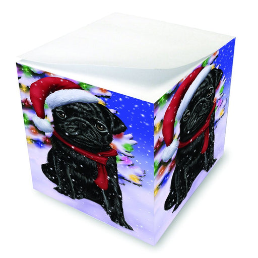 Winterland Wonderland Pug Dog In Christmas Holiday Scenic Background Note Cube D670