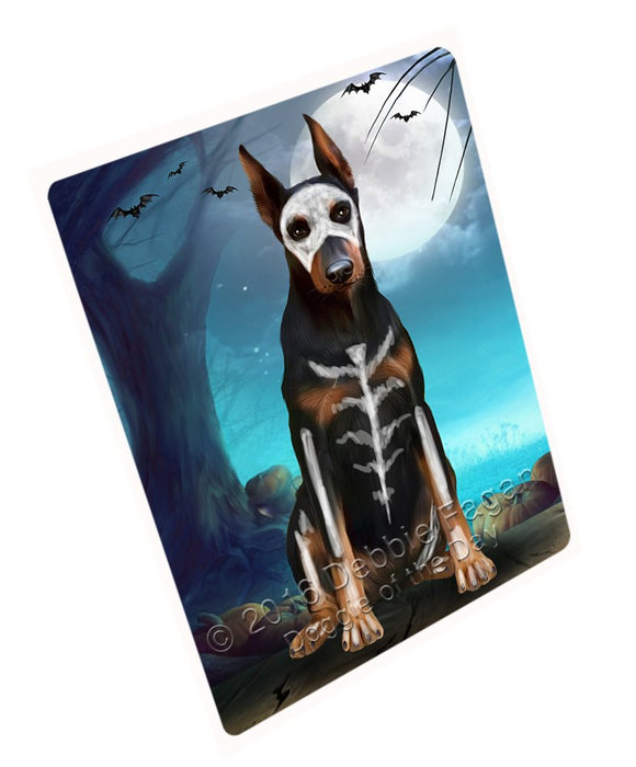 Happy Halloween Trick or Treat Doberman Dog Skeleton Magnet