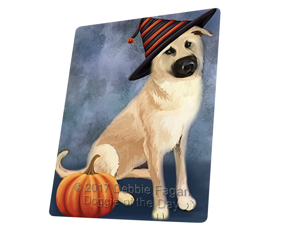 "Happy Halloween Chinook Dog Wearing Witch Hat With Pumpkin Magnet Mini (3.5"" x 2"")"