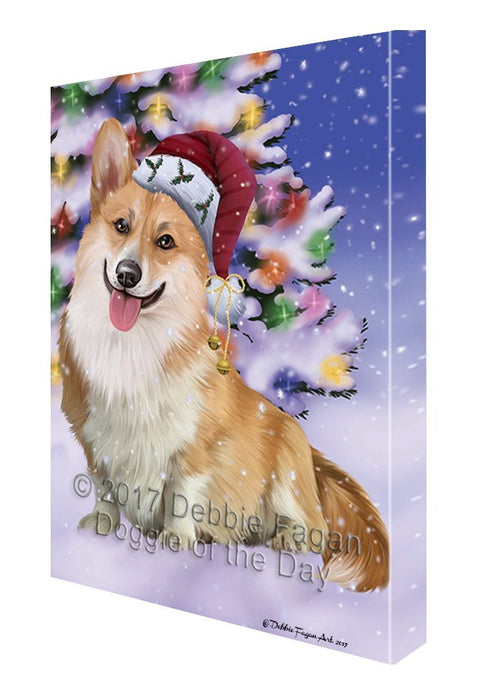 Winterland Wonderland Corgis Dog In Christmas Holiday Scenic Background Canvas Wall Art