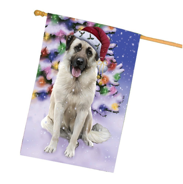 Winterland Wonderland Anatolian Shepherds Dog In Christmas Holiday Scenic Background House Flag