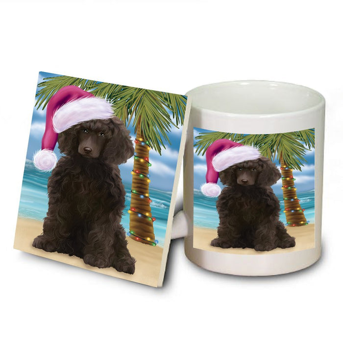 Summertime Poodle Dog on Beach Christmas Mug and Coaster Set MUC0699