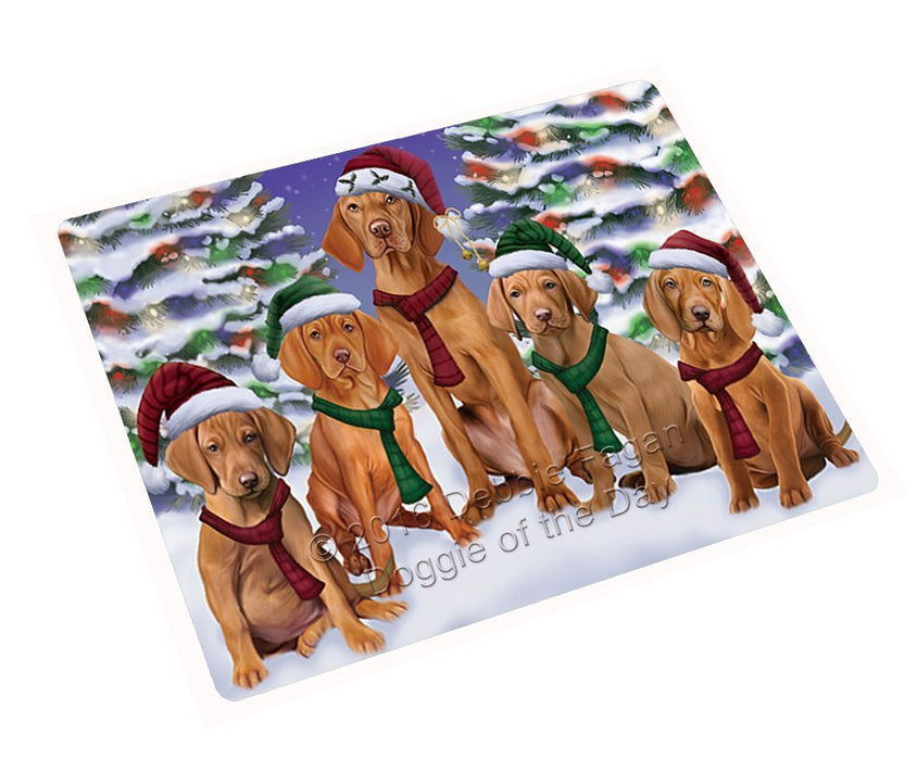 Vizsla Dog Christmas Family Portrait in Holiday Scenic Background Large Refrigerator / Dishwasher Magnet