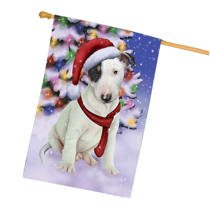 Winterland Wonderland Bull Terrier Puppy Dog In Christmas Holiday Scenic Background House Flag