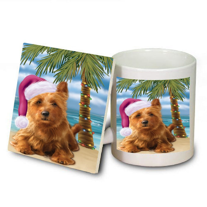 Summertime Australian Terrier Dog on Beach Christmas Mug and Coaster Set MUC0728