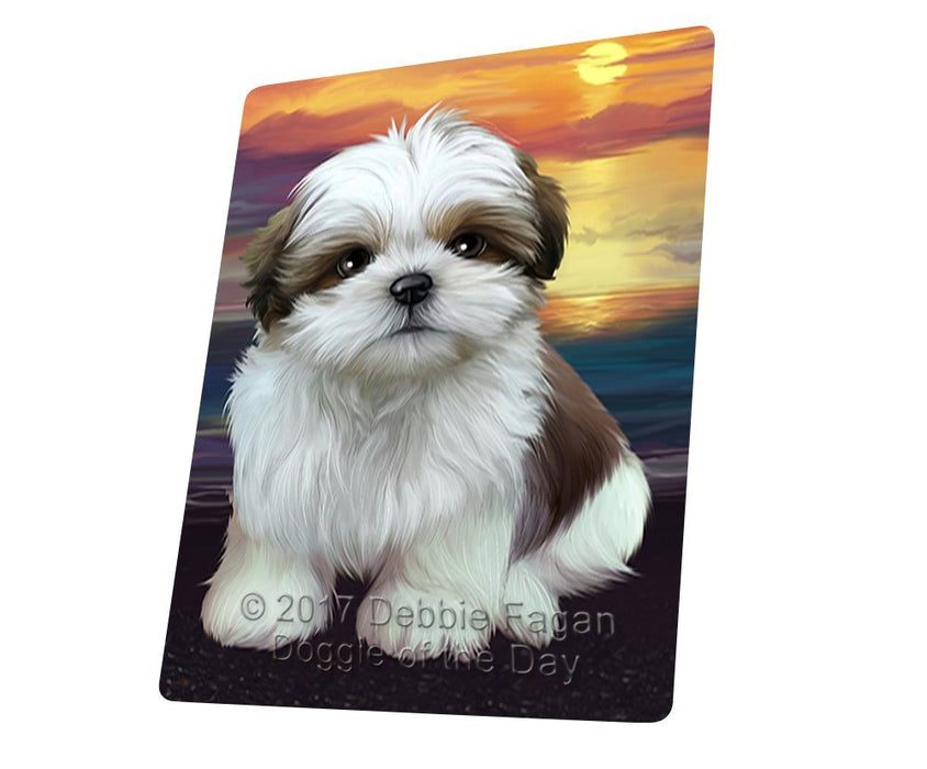 Shih Tzu Dog Art Portrait Print Woven Throw Sherpa Plush Fleece Blanket D436