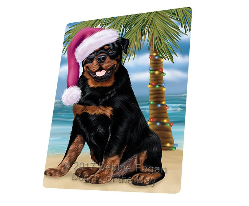 Summertime Happy Holidays Christmas Rottwielers Dog on Tropical Island Beach Large Refrigerator / Dishwasher Magnet D199