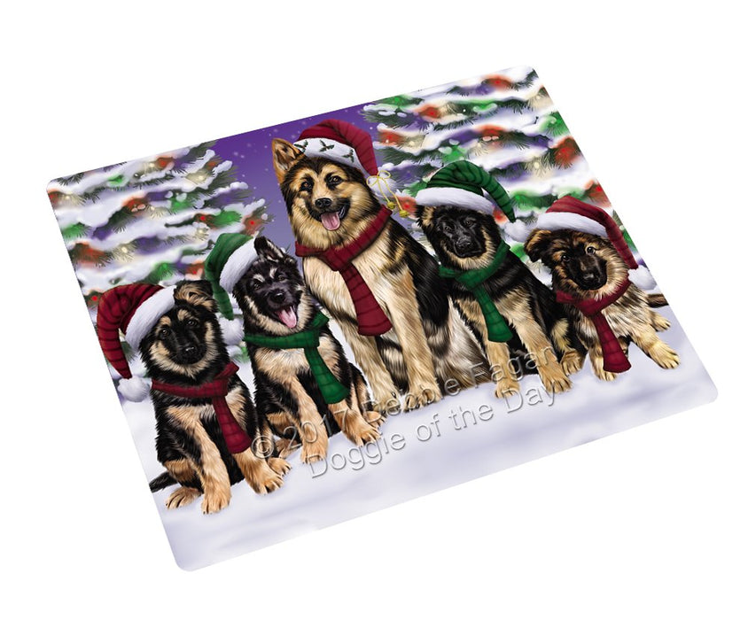 German Shepherd Dog Christmas Family Portrait in Holiday Scenic Background Art Portrait Print Woven Throw Sherpa Plush Fleece Blanket