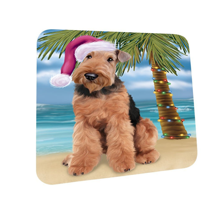 Summertime Airedale Dog on Beach Christmas Coasters CST418 (Set of 4)