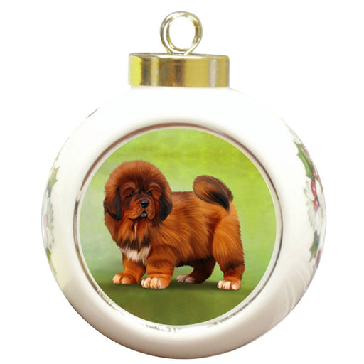 Tibetan Mastiffs Dog Round Ceramic Christmas Ornament