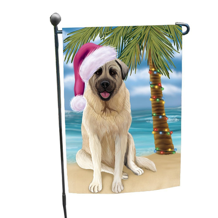 Summertime Christmas Happy Holidays Anatolian Shepherd Dog on Beach Garden Flag FLG302