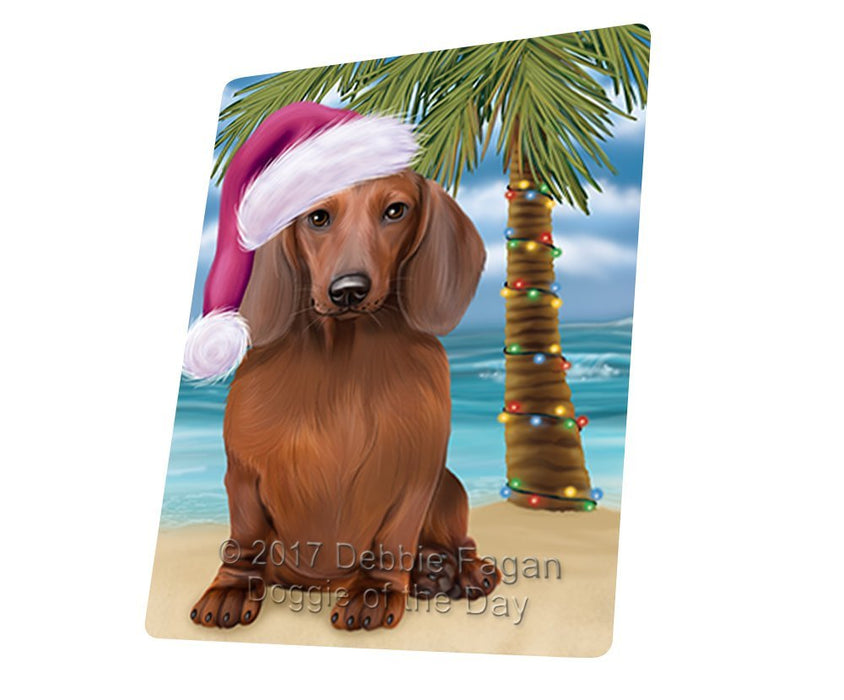 Summertime Happy Holidays Christmas Dachshund Dog on Tropical Island Beach Large Refrigerator / Dishwasher Magnet D123