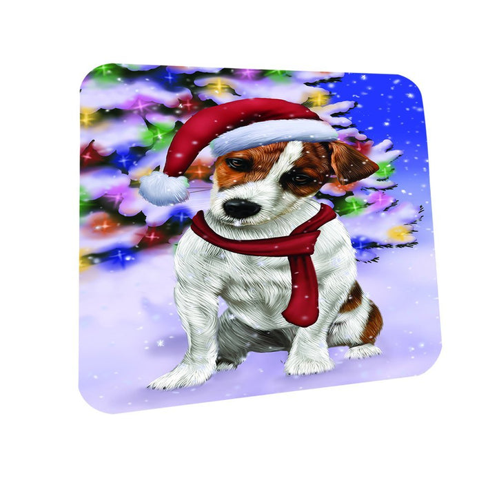 Winterland Wonderland Jack Russel Dog In Christmas Holiday Scenic Background Coasters Set of 4