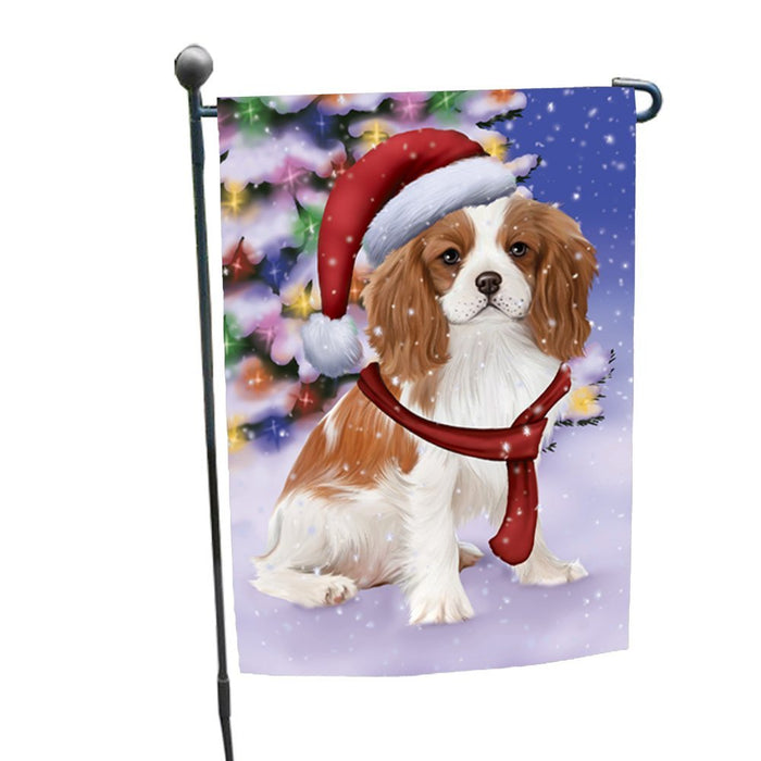 Winterland Wonderland Cavalier King Charles Spaniel Puppy Dog In Christmas Holiday Scenic Background Garden Flag