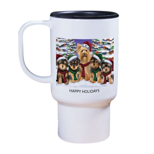Yorkshire Terriers Dog Christmas Family Portrait in Holiday Scenic Background Travel Mug