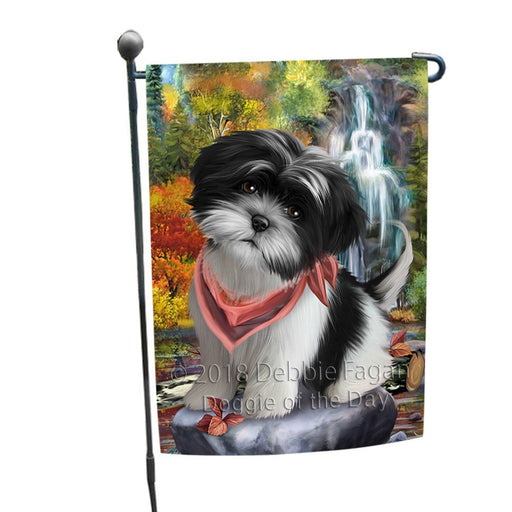 Scenic Waterfall Shih Tzu Dog Garden Flag GFLG49343
