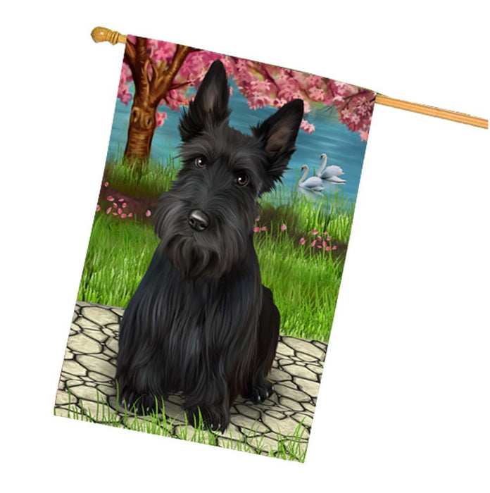 Scottish Terriers Dog House Flag